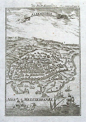 ALEXANDRIA, EGYPT, Bird's eye view. Mallet original antique map 1719