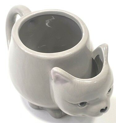 3-D gray Kitty Cat Coffee TeaCup Mug Tea Bag Holder Ceramic 10 Strawberry Street
