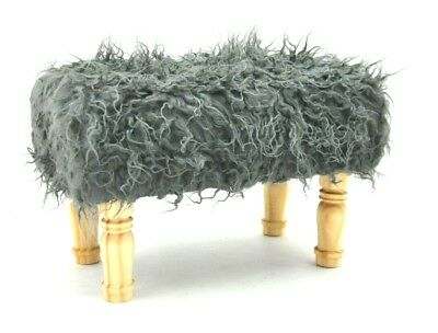 Deluxe Fluffy Footstool Hand Made Lounge Padded Foot Stool Shaggy Antique Grey