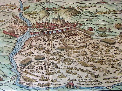 Quintin France 1628 Munster old prospect birds-eye city view military hand color