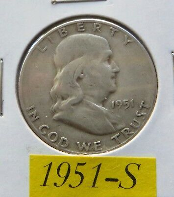 1951 S  Circulated Franklin Half Dollar ~ 90% Silver ~ Invest In Silver