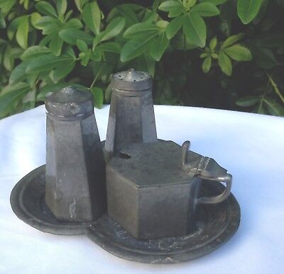 Antique 1920s Pewter Cruet Set with Blue Glass Mustard Pot and 'Clover' Tray