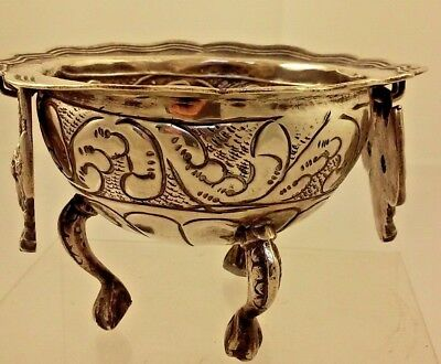 Antique Spanish Colonial Silver 900 Bowl Brazier - Hand Hammered Heavy