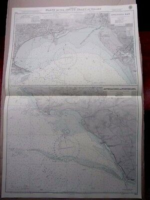 "1969 SWANSEA BAY & Approaches to PORTHCAWL ADMIRALTY MAP Sea Chart 28"" x 41"" A11"