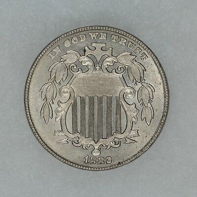 1882 Shield Nickel 5C Type 2 No Rays - Choice Bu+ Brilliant Uncirculated (8133)