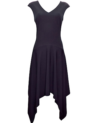 M&S Marks Black Autograph s6 Hanky Hem Heavyweight Stretch Shift Midi Dress BNWT