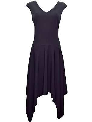 M&S Marks Black Autograph 12 Hanky Hem Heavyweight Stretch Shift Midi Dress BNWT