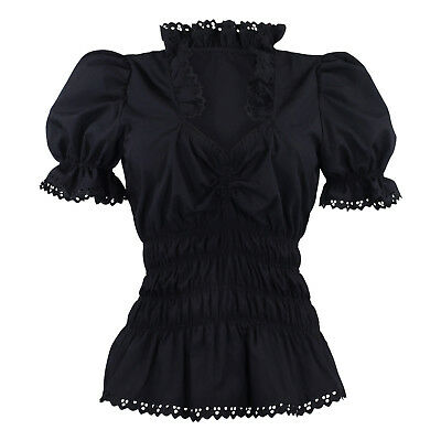 Ladies Traditional Costume Blouses Ruffle Lace Dirndl Black short Sleeve
