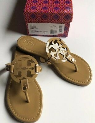 9bb3962df TORY BURCH NUDE Patent Leather Miller Logo Sandals Size 8 M New ...