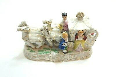 Antique Porcelain Victorian Horse Drawn Carriage With Couple German Italian ?