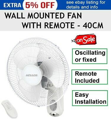 40cm Fan Wall Mounted with Remote Control Timer Oscillating Cooler 3 Speed NEW