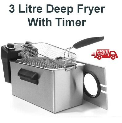 Stainless Steel Deep Fryer with Cooker Timer 3 Litre Oil Large Food Capacity