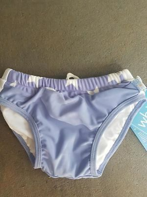 Girls Swim Nappy Pant - Reuseable - Size 0 - White Soda - Upf 50+ New - Stars