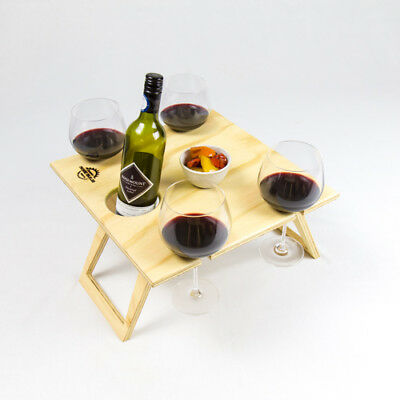 Portable Wine Picnic Table Square Natural Foldable Outdoor Dining Boat