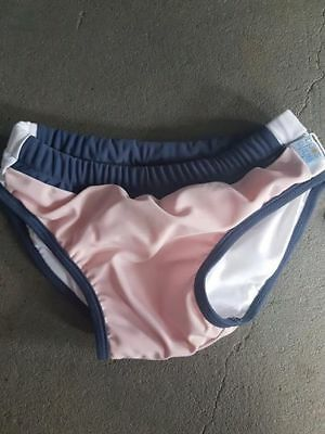 Girls Swim Nappy Pant - Reuseable - Size 1 - White Soda - Upf 50+ New - Pink