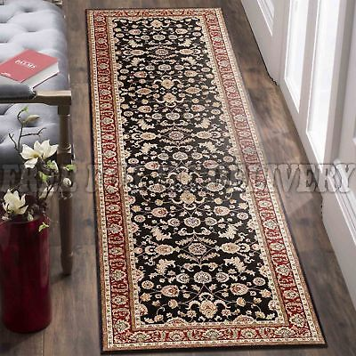 VALENTI ALLOVER BLACK RED TRADITIONAL FLOOR RUG RUNNER 80x400cm *FREE DELIVERY**