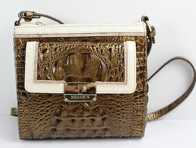 Brahmin Mimosa Linen Tri-Color Leather Cross-Body Bag With Built-In Wallet NWT