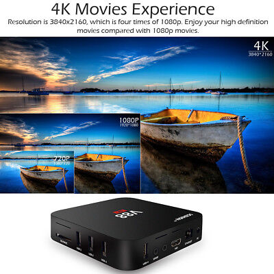 V88 Android 7.1 TV Box RK3229 Quad Core UHD 4K 1G/8G WiFi Media Player UK Plug