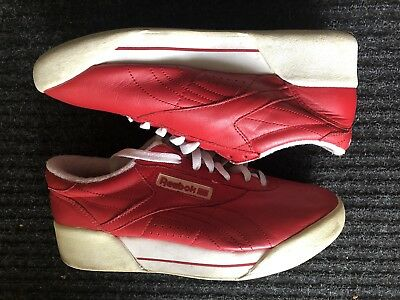 6a786874b28 Rare Vintage 90s Reebok Women Red With White Platform Sneakers Shose