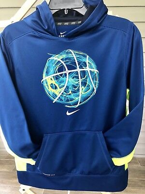 NIKE BOYS YOUTH XL Black Football Therma Fit Hoodie Hooded