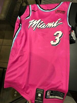 best service 6ee08 d3f5b BRAND NEW MIAMI HEAT WADE SUNSET VICE CITY PINK LARGE JERSEY w/LEATHER HEAT  BAG!