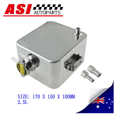 2.5L Aluminum Coolant Radiator Overflow Recovery Water Tank Bottle Silver