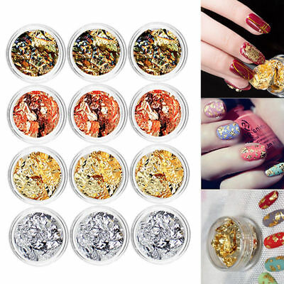 12colors/set Charm Nail Art Gold Silver Metal Foil Paper Flake 3D Sticker Decal