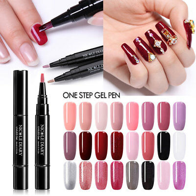 3-in-1 Gel Nail Varnish Pen Glitter One Step Nail Gel Polish 24Colors UV Gel DIY