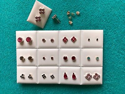 JOBLOT-12 pairs of different styles colour diamante earrings.Silver plated.