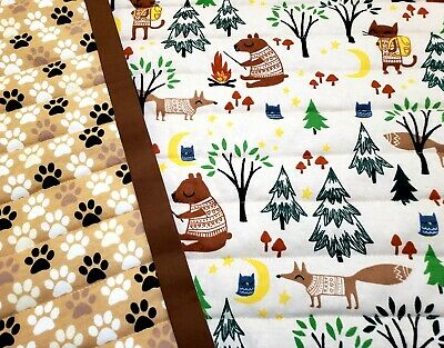 "NEW HANDMADE""CAMPING PETS"" UNISEX 34x 43in BABY/TODDLER/PUPPY FLANNEL QUILT-GIFT"