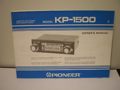 VALIANT VF VG etc PIONEER KP-1500 CASSETTE AM/FM STEREO OWNERS MANUAL BOOKLET