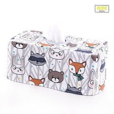 Modern Handmade Tissue Box Cover Kids Nursery Bathroom WOODLAND FRIENDS