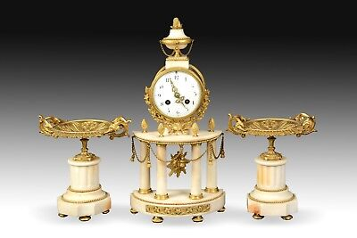 Louis XVI Style Clock Garniture, Gilt Bronze Marble, 19th Century