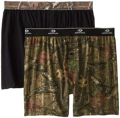 Mossy Oak Men's 2-Pack Knit Boxers- Black/Camo