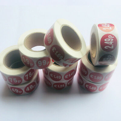 500x RED PRICE SELF ADHESIVE 25MM DIA STICKERS STICKY LABELS FOR RETAIL DISPLAY
