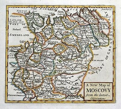 MOSCOVY, WESTERN RUSSIA , John Senex original antique hand coloured map 1741