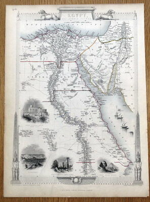 EGYPT and ARABIA PETRAEA, Rapkin & Tallis antique map 1851