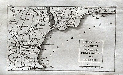 DEVON SIDMOUTH EXMOUTH SHALDON Antique Copper Engraved Vintage Map 1804