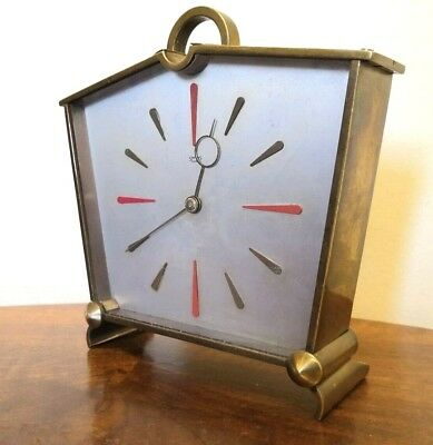 Vintage Retro 1950s Smiths 8 Day Mantle Clock Brass Sunburst Dial  Made England