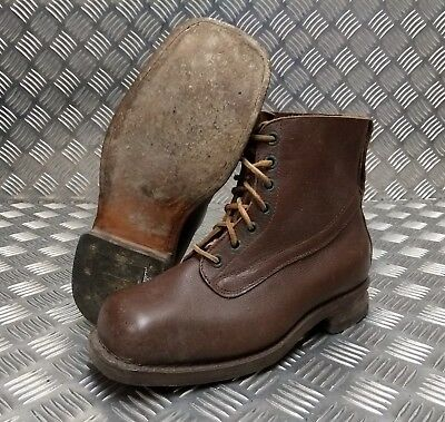 Genuine Vintage Leather Laced 1953 Brown 7 Hole Leather Sole Boots Size Eur 41