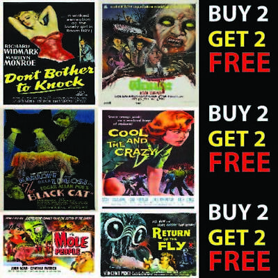 VINTAGE HORROR CINEMA CLASSIC MOVIE POSTERS A4 A3 300gsm Vintage Wall Art