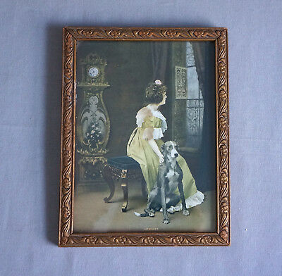 Antique Print MEMORIES Framed Victorian Lady Petting Dog Small Dated