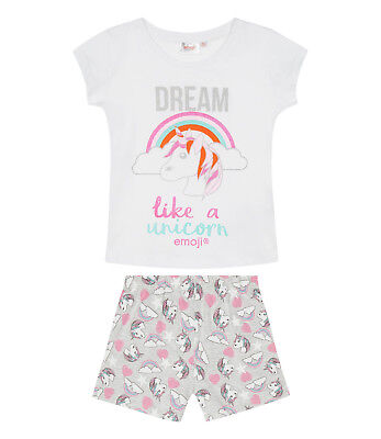 Girls Official Emoji Unicorn White Grey Short Sleeve Pyjamas PJs