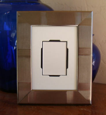 """Silver ACEO Picture Frame Fits 2.5x3.5"""" Trading Cards, Photos with Mat, Glass"""