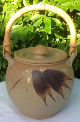 Studio Pottery Stoneware Ginger Pot with Lid & Bamboo Handle Superb Centrepiece