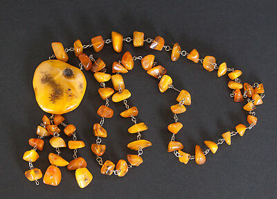 Antique Natural Butterscotch Egg Yolk Baltic Amber Necklace 43.8g.