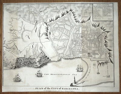 BARCELONA, SPAIN, City plan, fortifications Rapin/Tindal antique map 1745