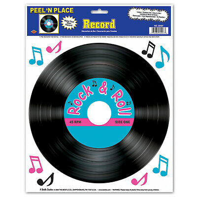 25/' 50/'s Rock /& Roll Foil Party Banner Decoration DINER MUSIC RECORD SOCK HOP