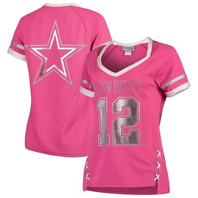 Dallas Cowboys Nfl Womens Pink Vixen V Neck Ladies Fashion Jersey Shirt  50 80da15db7