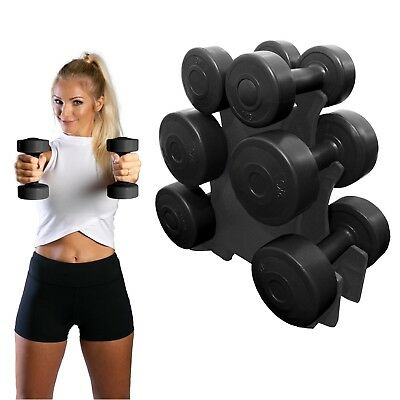 Azure Dumbbell Set Vinyl Hand Weight Women 1kg 2kg & 3kg Pairs with Rack Stand